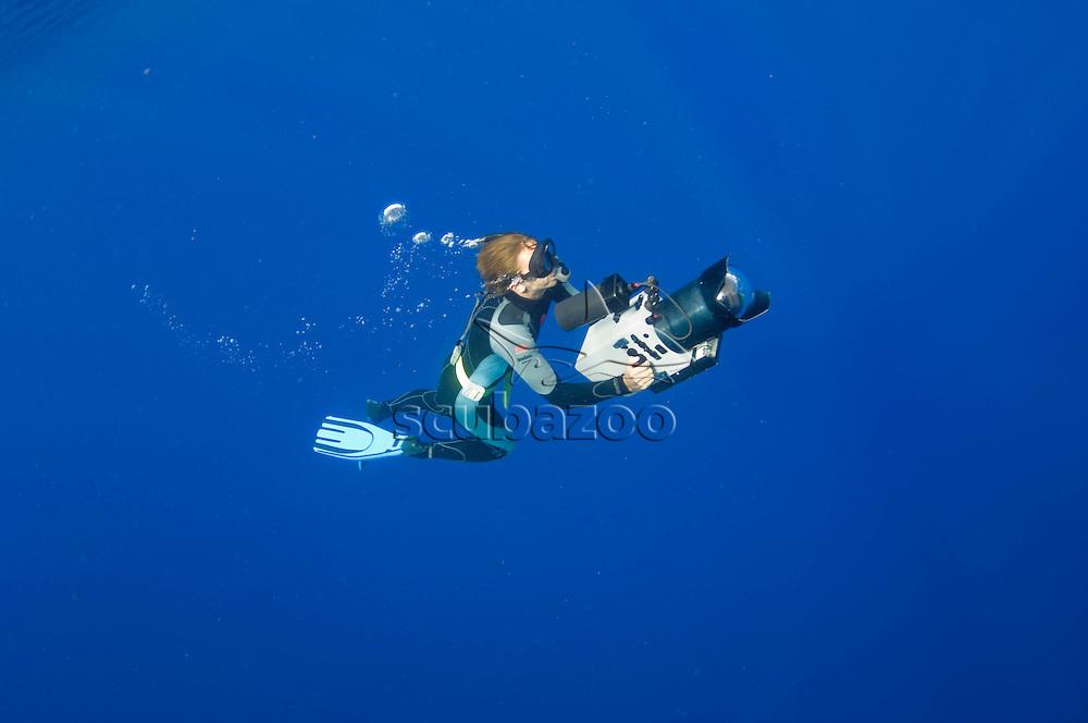 Roger Munns freediving with camera, Toku, Va Va'u, Tonga.
