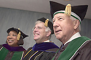 left to right: Trustee Pat Ackerman, Provost of Ohio University Dr. Steven Kopp, and 2004 Undergraduate Commencement Speaker David McCullough have photos taken before commencement ceremony