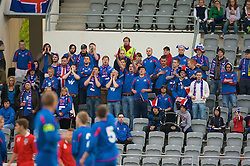 REYKJAVIK, ICELAND - Wednesday, May 28, 2008: Iceland's supporters cheet their side on against Wales during the international friendly match at the Laugardalsvollur Stadium. (Photo by David Rawcliffe/Propaganda)