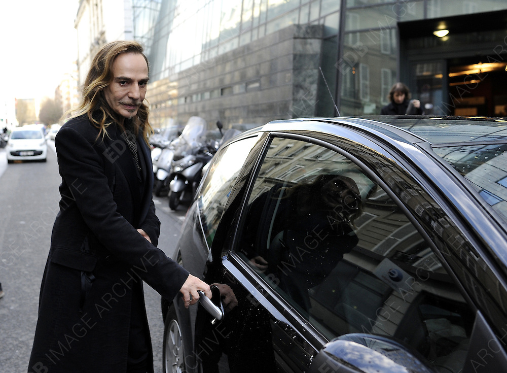 04.FEBRUARY.2013. PARIS<br /> <br /> FORMER DIOR DESIGNER, JOHN GALLIANO LEAVES THE CONSEIL DES PRUD'HOMMES, FRANCE'S INDUSTRIAL TRIBUNAL, IN PARIS, FRANCE ON FEBRUARY 4<br /> <br /> BYLINE: EDBIMAGEARCHIVE.CO.UK<br /> <br /> *THIS IMAGE IS STRICTLY FOR UK NEWSPAPERS AND MAGAZINES ONLY*<br /> *FOR WORLD WIDE SALES AND WEB USE PLEASE CONTACT EDBIMAGEARCHIVE - 0208 954 5968*