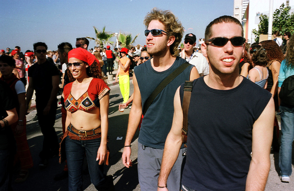 Avishai with his friends at the Love Parade in Tel-Aviv...Photo: Nadav Neuhaus
