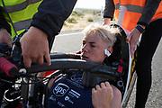 Iris Slappendel in de VeloX 7 tijdens de vijfde racedag. Het Human Power Team Delft en Amsterdam, dat bestaat uit studenten van de TU Delft en de VU Amsterdam, is in Amerika om tijdens de World Human Powered Speed Challenge in Nevada een poging te doen het wereldrecord snelfietsen voor vrouwen te verbreken met de VeloX 7, een gestroomlijnde ligfiets. Het record is met 121,81 km/h sinds 2010 in handen van de Francaise Barbara Buatois. De Canadees Todd Reichert is de snelste man met 144,17 km/h sinds 2016.<br /> <br /> With the VeloX 7, a special recumbent bike, the Human Power Team Delft and Amsterdam, consisting of students of the TU Delft and the VU Amsterdam, wants to set a new woman's world record cycling in September at the World Human Powered Speed Challenge in Nevada. The current speed record is 121,81 km/h, set in 2010 by Barbara Buatois. The fastest man is Todd Reichert with 144,17 km/h.