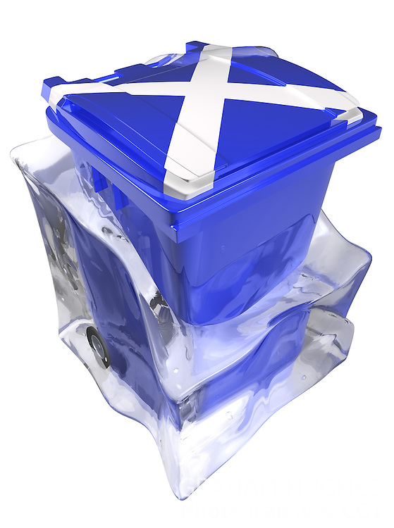 Blue wheelie bin with Scottish Saltire flag on it within melting block of ice. Cut out.