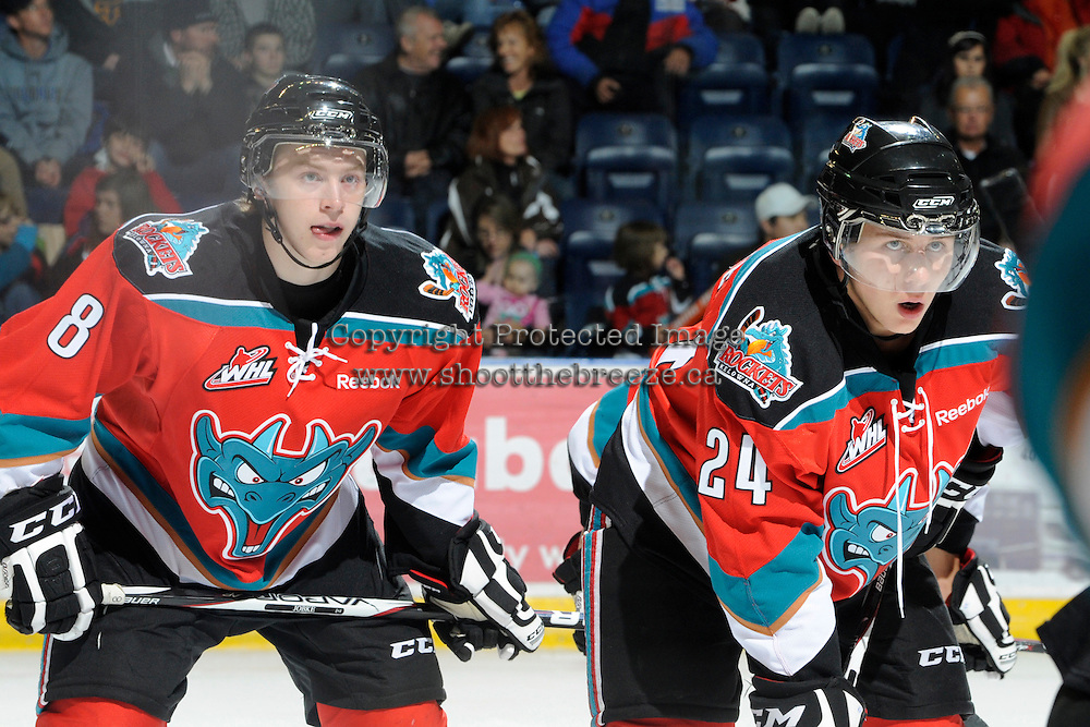 KELOWNA, CANADA, OCTOBER 26:  Cole Martin #8 and Tyson Baillie #24 of the Kelowna Rockets line up for the face off as the Prince George Cougars visit the Kelowna Rockets  on October 26, 2011 at Prospera Place in Kelowna, British Columbia, Canada (Photo by Marissa Baecker/Shoot the Breeze) *** Local Caption *** Cole Martin; Tyson Baillie;