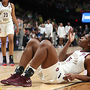 March 31, 2019; Portland, OR, USA;  Mississippi State Bulldogs center Teaira McCowan (15) reacts after a play against the Oregon Ducks in the first half of Elite Eight of the NCAA Women's Tournament at Moda Center.<br /> Photo by Jaime Valdez