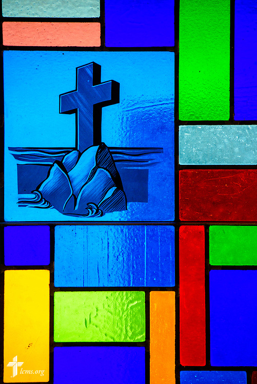 Stained glass depicting the cross at Zion Lutheran Church, Worms, Neb., on Saturday, Sept. 23, 2017. LCMS Communications/Erik M. Lunsford