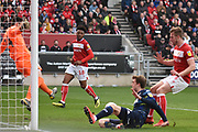 Leeds United forward Patrick Bamford (9) scores a goal 0-1 during the EFL Sky Bet Championship match between Bristol City and Leeds United at Ashton Gate, Bristol, England on 9 March 2019.
