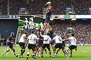 Grant Gilchrist takes lineout ball during the 2018 Autumn Test match between Scotland and Fiji at Murrayfield, Edinburgh, Scotland on 10 November 2018.