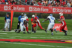 13 October 2007:  Luke Drone runs right as Geno Blow blocks out Brandon Logan. The Indiana State Sycamores were jacked 69-17 by the Illinois State Redbirds at Hancock Stadium on the campus of Illinois State University in Normal Illinois.