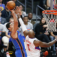 02 November 2016: Oklahoma City Thunder center Enes Kanter (11) goes for the jump shot over Los Angeles Clippers center Marreese Speights (5)  during the Oklahoma City Thunder 85-83 victory over the Los Angeles Clippers, at the Staples Center, Los Angeles, California, USA.