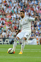 Real Madrid´s Sergio Ramos during 2014-15 La Liga match between Real Madrid and Valencia at Santiago Bernabeu stadium in Madrid, Spain. May 09, 2015. (ALTERPHOTOS/Luis Fernandez)