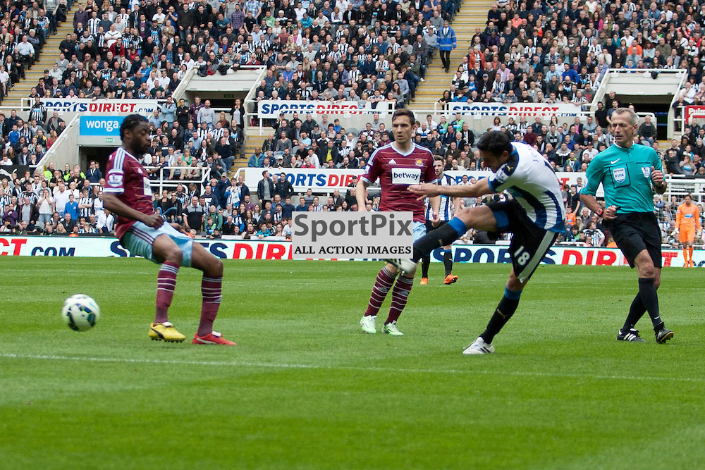 Jonas Gutierrez hammers it home to score a goal in the Newcastle v West Ham, Barclays Premiership match at St James&rsquo; Park, Newcastle 24 May 2014<br /><br />(c) Russell G Sneddon / SportPix.org.uk