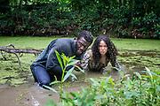 "Aldis Hodge as Noah and Jurnee-Smollett-Bell as Rosalee in WGN America's ""Underground."""