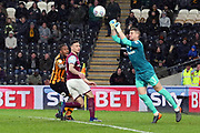 Aston Villa goalkeeper Sam Johnstone (1) punches the ball during the EFL Sky Bet Championship match between Hull City and Aston Villa at the KCOM Stadium, Kingston upon Hull, England on 31 March 2018. Picture by Mick Atkins.