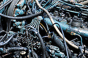 close up of old diesel engine