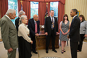 13.JUNE.2013. WASHINGTON D.C.<br /> <br /> PRESIDENT BARACK OBAMA TALKS WITH REP. JOHN DINGELL, D-MICH. , ALONG WITH MEMBERS OF HIS FAMILY, IN THE OVAL OFFICE, JUNE 13, 2013. REP. DINGELL IS THE LONGEST-SERVING MEMBER IN THE HISTORY OF THE UNITED STATES CONGRESS.<br /> <br /> BYLINE: EDBIMAGEARCHIVE.CO.UK<br /> <br /> *THIS IMAGE IS STRICTLY FOR UK NEWSPAPERS AND MAGAZINES ONLY*<br /> *FOR WORLD WIDE SALES AND WEB USE PLEASE CONTACT EDBIMAGEARCHIVE - 0208 954 5968*
