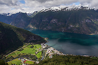 View over Aurland and Aurlandsfjord from Stegastein viewpoint, Aurland - Norway, August