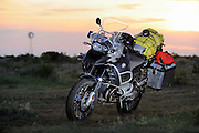 2009 BMW R1200GS motorcycle loaded up for adventure traveling, photographed in west Texas.