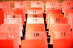 Red seats in the Loftus Versfeld Stadium in Tshwane / Pretoria, South Africa. Venue for the FIFA Confederations Cup South Africa 2009 and the 2010 FIFA World Cup in South Africa. The stadium was named after Robert Owen Loftus Versfeld, the founder of organized sports in Pretoria.