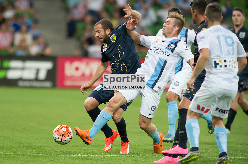 Glen Trifiro of Central Coast Mariners, Jacob Melling of Melbourne City - Hyundai A-League,  25th October 2015, RD 3, Melbourne City FC v Central Coast Mariners with a win to City 3:1 © Mark Avellino | SportPix.org.uk