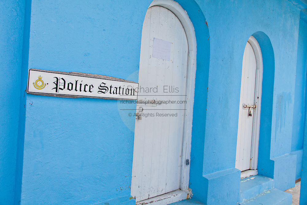 Colorful police station in the tiny village of Hope Town, Elbow Cay Abacos, Bahamas.
