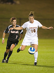 Virginia Cavaliers F/M Kelly Quinn (10)..The #3 ranked Virginia Cavaliers Women's Soccer team faced the Maryland Terrapins at Klockner Stadium in Charlottesville, VA on October 25, 2007.