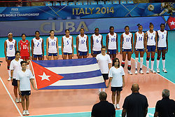 Cuba listen to his national anthem