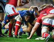 France back row Bernard Le Roux in the scrum during the Rugby World Cup 2015 Pool D match (22) between France and Canada at Stadium MK, Milton Keynes, England on 1 October 2015. Photo by David Charbit.