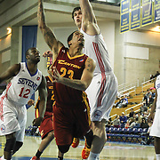 Canton Charge Guard Bo Spencer (23) drives towards the basket as Delaware 87ers Center Kyrylo Fesenko (34) defends in the second half as of a NBA D-league regular season basketball game between the Delaware 87ers (76ers) and The Canton Charge (Cleveland Cavaliers) Friday, Jan 24, 2014 at The Bob Carpenter Sports Convocation Center, Newark, DEL.