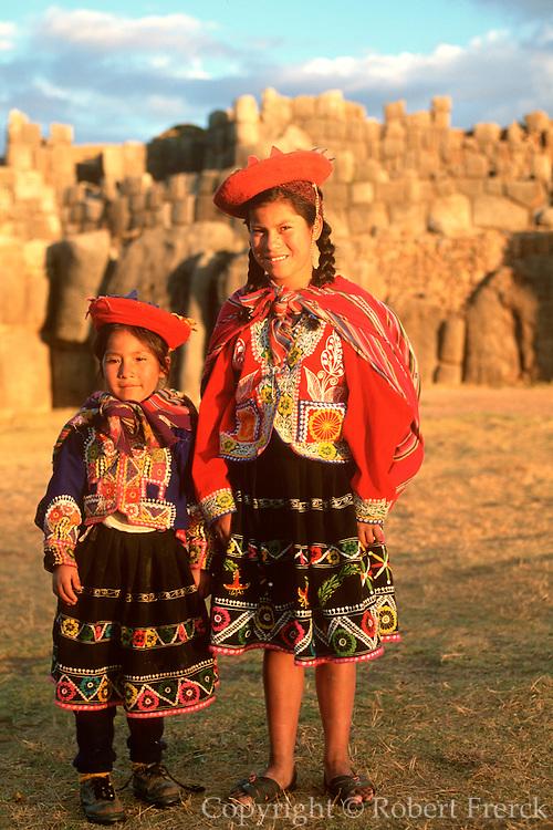 PERU, CUZCO, INCA CULTURE Sacsayhuaman Inca fortress portraits