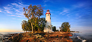 A 180 Degree Panoramic View At The Marblehead Lighthouse In Early Morning Light On Lake Erie, Marblehead Ohio, USA