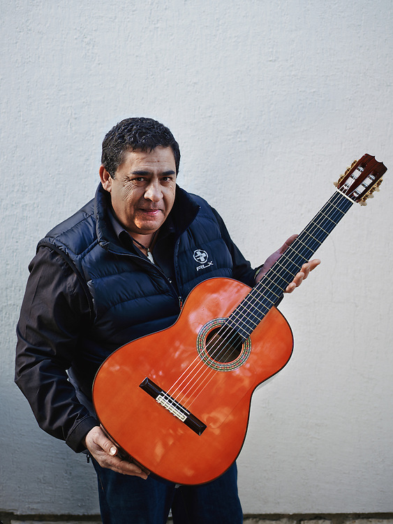 TOULOUSE, FRANCE. DECEMBER 18, 2013. Tonino Baliardo, lead guitarist of the Gipsy Kings with one of his guitar, a Conde Hermanos model (2002 AF25/R). Photo: Antoine Doyen