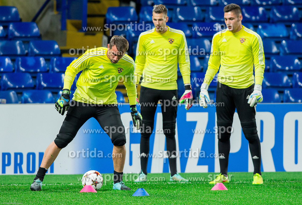 Jasmin Handanovic, Marino Hamer and Aljaz Cotman  during practice session of NK Maribor 1 day before UEFA Champions League 2014/15 Match between FC Chelsea and NK Maribor, SLO, on October 20, 2014 in Stamford Bridge Stadium, London, Great Britain. Photo by Vid Ponikvar / Sportida.com