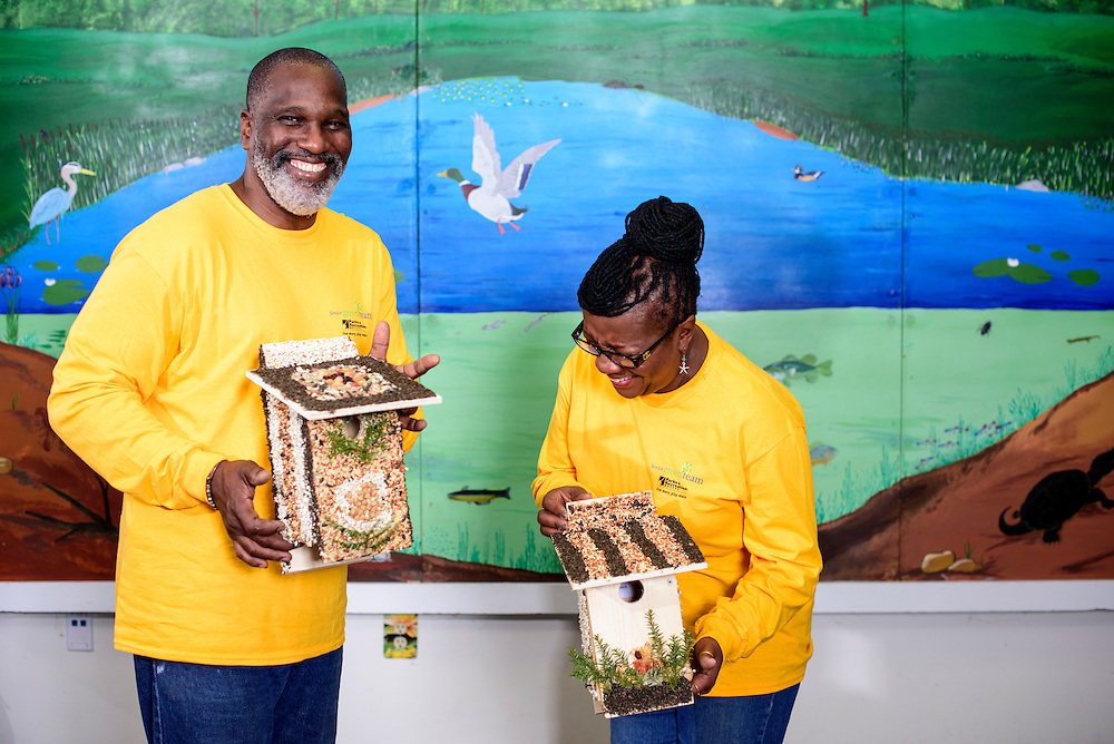Upper Marlboro, Maryland - January 03, 2017: Members of the Senior Green Team Fletcher James and Myron &quot;Pat&quot; James stand for a portrait with the birdhouses they built and decorated at the Watkins Park Nature Center in Upper Marlboro, Md., Tuesday January 3, 2017. The group meets the first Tuesday morning of each month and works on nature beautification projects like trail maintenance, tree planting, clean ups, and, educational outings. <br /> <br /> CREDIT: Matt Roth