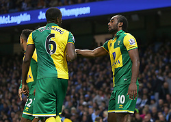 Cameron Jerome of Norwich City celebrates after scoring the equalising goal  - Mandatory byline: Matt McNulty/JMP - 07966 386802 - 31/10/2015 - FOOTBALL - Etihad Stadium - Manchester, England - Manchester City v Norwich City - Barclays Premier League