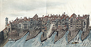 Part of Old London Bridge, built 1176-1209, showing the waterwheels of the Southwark corn mills built on the Surrey side of the Thames c1588. By gap in buildings on left is Southwark or Traitors' gate (1577-9) with heads of executed traitors placed on poles. Chromolithograph after painting c1600.