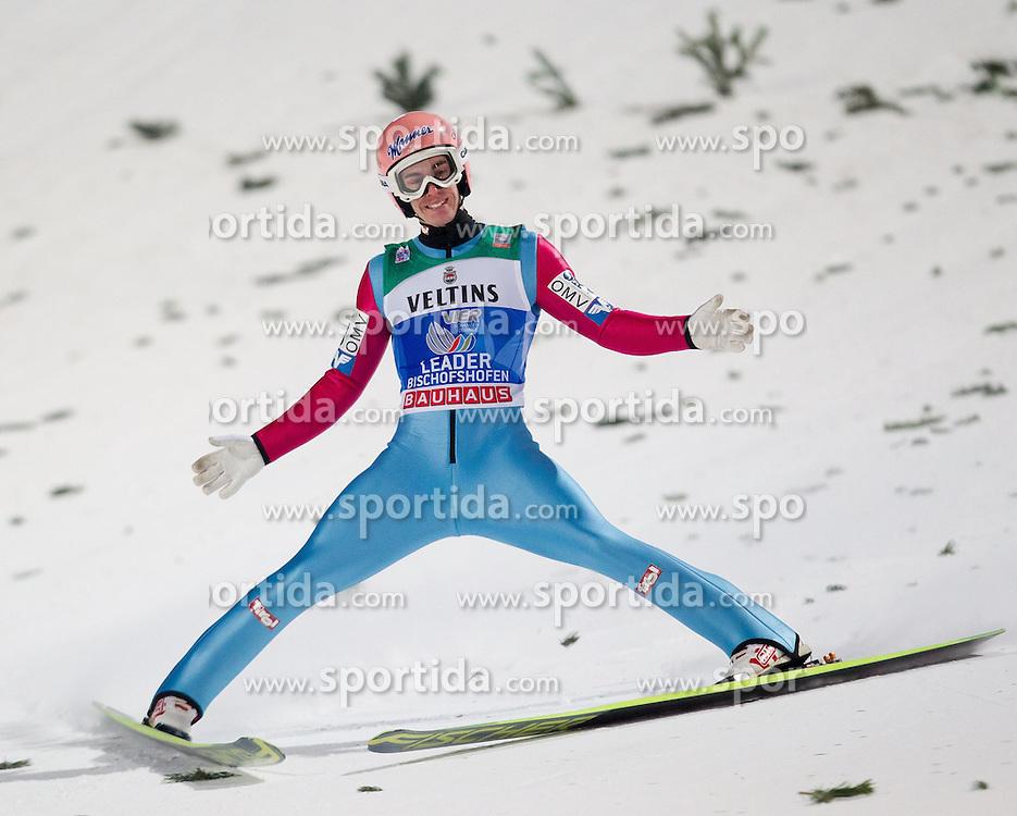 06.01.2015, Paul Ausserleitner Schanze, Bischofshofen, AUT, FIS Ski Sprung Weltcup, 63. Vierschanzentournee, Finale, im Bild Gesamtsieger Stefan Kraft (AUT) // Stefan Kraft of Austria during Final Jump of 63rd Four Hills <br /> Tournament of FIS Ski Jumping World Cup at the Paul Ausserleitner Schanze, Bischofshofen, Austria on 2015/01/06. EXPA Pictures &copy; 2015, PhotoCredit: EXPA/ JFK