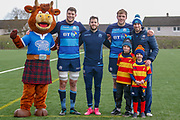 Scottish Rugby Healthy eating Partner mascot 'Hamish' alongside Forwards Grant Gilchrist & Jonny Gray, Winger Tommy Seymour during the training session and press conference for Scotland Rugby at Clydebank Community Sports Hub, Clydebank, Scotland on 13 February 2019.