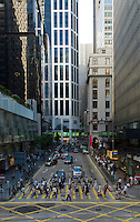 Pedder street / Des Voeux road crossing in Central, Hong Kong.