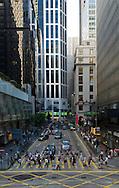 Pedder street / Des Voeux road crossing in Central, Hong Kong.