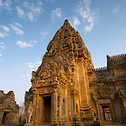 Phanom Rung Khmer temple at Buriram in Thailand. This is a grand and majestic Khmer site over a thousand years old. Built on an extinct volcano, it is originally a Hindu religious site and later became a Buddhist one. During the 15th-18th Buddhist century, several additions were made..The buildings of the sanctuary are made of laterite and sandstone, all with elaborate designs. The layout is according to Hindu belief of the layout of the heaven of the god Shiva. View is March 2007.