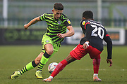 Forest Green Rovers Liam Shephard(2) takes on Exeter City's Jayden Richardson(20) during the EFL Sky Bet League 2 match between Forest Green Rovers and Exeter City at the New Lawn, Forest Green, United Kingdom on 1 January 2020.