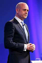 © Licensed to London News Pictures. 10/11/2014. LONDON, UK. Fredrik Reinfeldt, Leader of the Moderate Party and former Prime Minister of Sweden from 2006 to 2014 delivers a speech at the 2014 Confederation of British Industry (CBI) Conference, held at the Grosvenor House in London. Photo credit : Tolga Akmen/LNP
