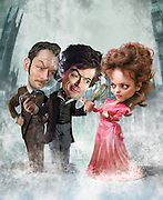 Caricature: Seductive Reasoning. Robert Downey Jr. is back as Sherlock Holmes, Jude Law as Dr. John Watson, and Rachel Anne McAdams as Irene Adler.  Photoshop for Penthouse Magazine.