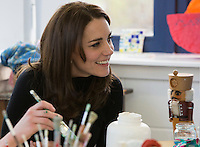 The Duchess of Cambridge  photographed here on a visit to The Art Room at Wester Hailes Education Centre Edinburgh<br /> Catherine - who is also known as the Countess of Strathearn in Scotland, was welcomed by Staff and pupils at the school