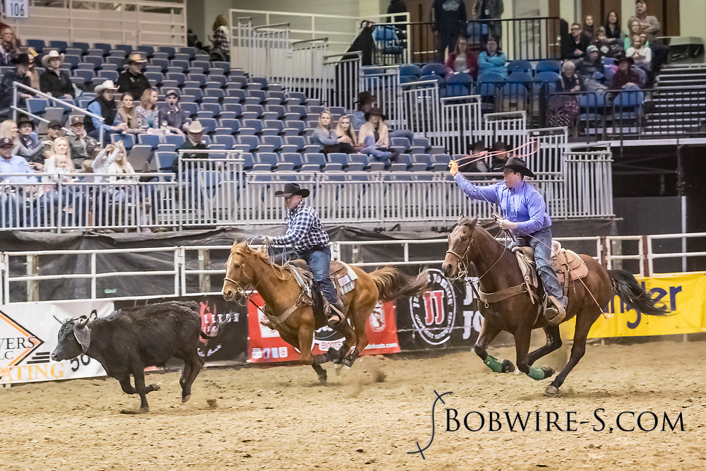Jason Thorstenson and Dustin Harris compete in team roping at the Bismarck Rodeo on Friday, Feb. 2, 2018. They had a no time on their run.
