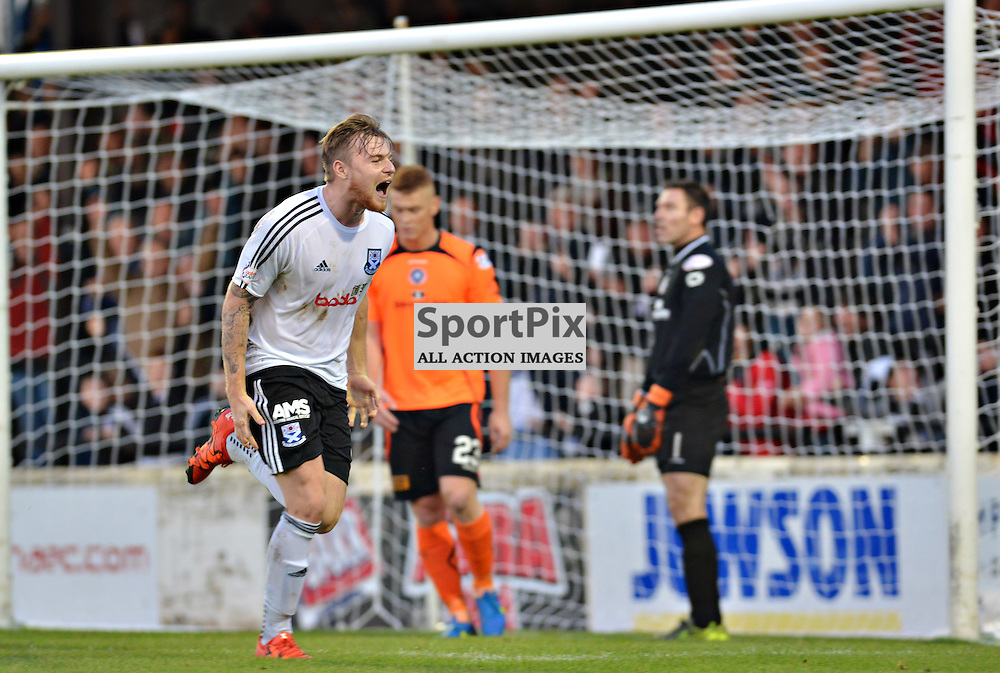 Delighted - Ayr United's Jordan Preston has justed sealed victory against Stranraer with his team's third goal in a 3-1 win and the delight is plain to see......(c) BILLY WHITE | SportPix.org.uk