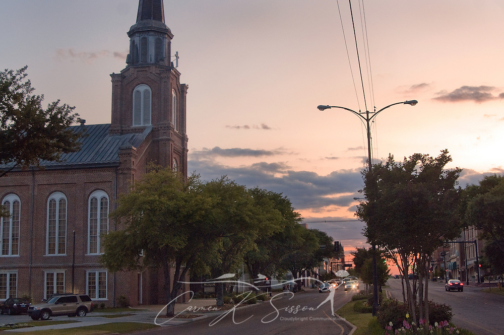 The sun sets on First United Methodist Church in downtown Columbus, Miss. April 20, 2010. The church, established in 1823, is the oldest church organization in Columbus. (Photo by Carmen K. Sisson/Cloudybright)