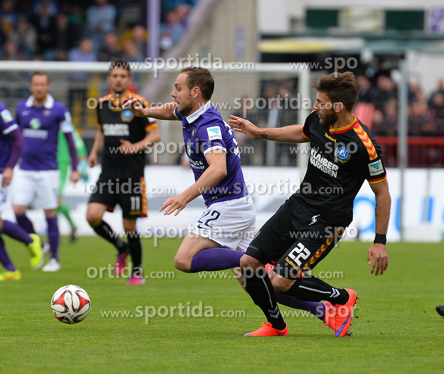 03.05.2015, Sparkassen Erzgebirgsstadion, Aue, GER, 2. FBL, FC Erzgebirge Aue vs Karlsruher SC, 31. Runde, im Bild Rico Benatelli (FC Erzgebirge Aue) li. wird von Enrico Valentini (Karlsruher SC) re, gefoult // during the 2nd German Bundesliga 31th round match between FC Erzgebirge Aue and Karlsruher SC at the Sparkassen Erzgebirgsstadion in Aue, Germany on 2015/05/03. EXPA Pictures &copy; 2015, PhotoCredit: EXPA/ Eibner-Pressefoto/ Harzer<br /> <br /> *****ATTENTION - OUT of GER*****