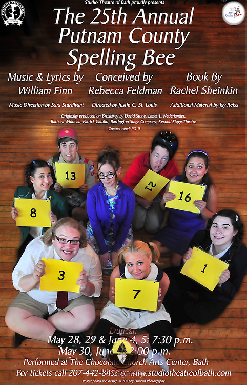 Design of Show Poster for Chocolate Church Arts Center presentation of  the 25th Annual Putnam County Spelling Bee Poster for Studio Theatre of Bath